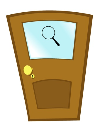 view of a wooden doorway: a vector cartoon representing an investigators door...you can easily insert a text under the magnifying glass