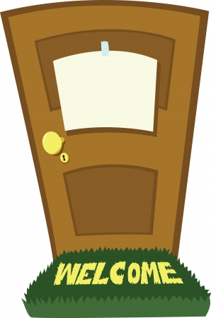 a door with a blank sing Vector