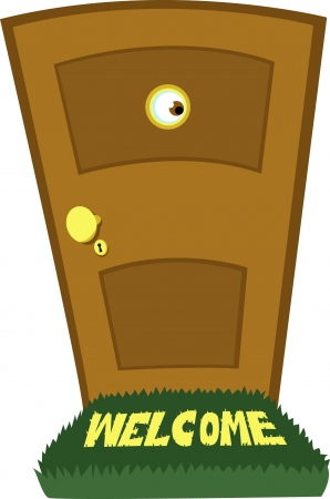 peephole: a cartoon representing a funny eye behind a closed door Illustration
