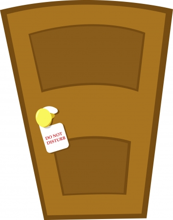 a closed door and a do not disturb sign Vector