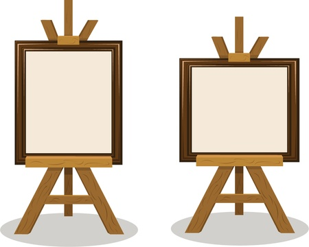 vertical and orizontal empty frames on wooden easels  Stock Vector - 15616474
