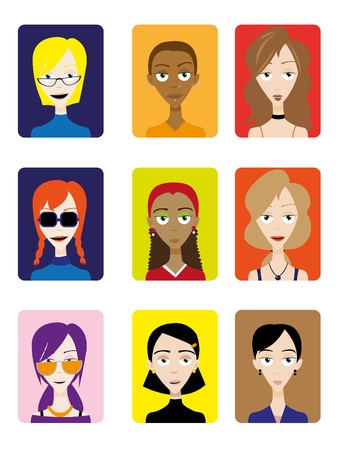 A group of female faces, useful for avatars