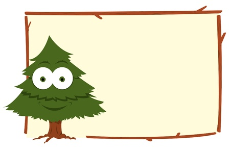 a cartoon representing a funny fir in a frame Stock Vector - 15616528