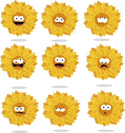 a cartoon representing a funny sunflower in different poses