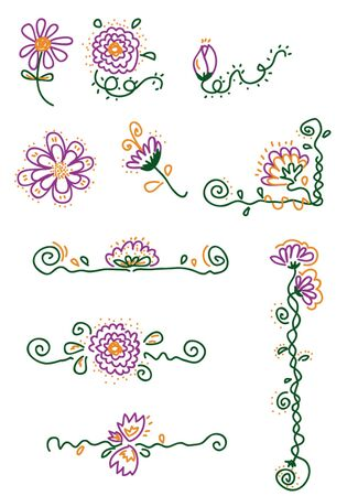 singly: 10 vector cartoons representing some flower elements - every object is singly grouped