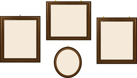 spot lit: a group of empty frames of different shapes Illustration