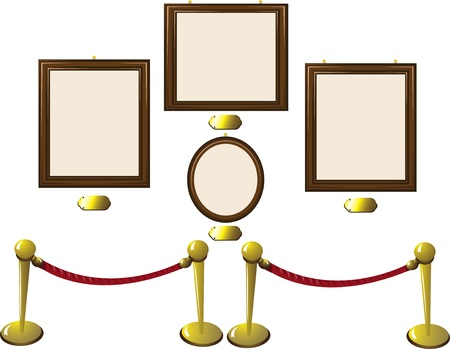 A cartoon representing some empty frames in a museum with blank golden tags. Stock Vector - 15616448