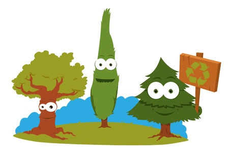 a cartoon representing a group of funny trees holding a recycling sign Stock Vector - 15616521
