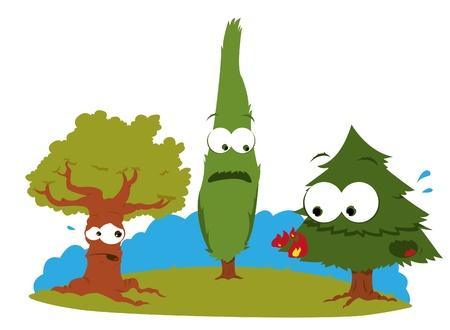 arbol de problemas: una caricatura que representa a un grupo de árboles divertidas que tienen algunas dificultades con fuego