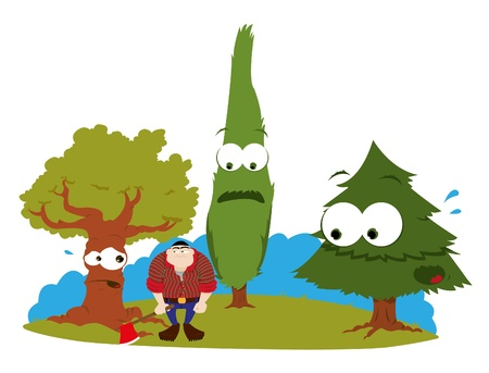 environmental issues: a cartoon representing three funny trees and a logger Illustration