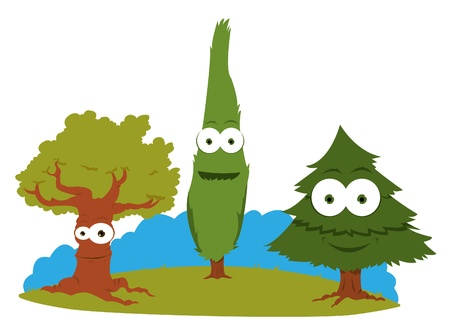 a cartoon representing a group of friendly trees