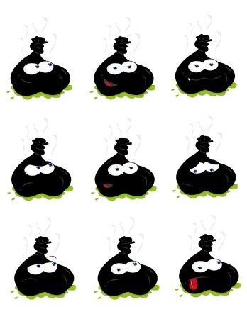 garbage bag: a vector cartoon representing a funny waste sack in different expressions Illustration