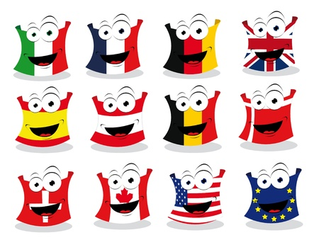a cartoon representing some funny flags looking at camera