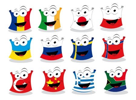 a cartoon representing some funny flags Vector
