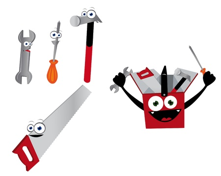anthropomorphic: a cartoon representing some funny anthropomorphic tools Illustration