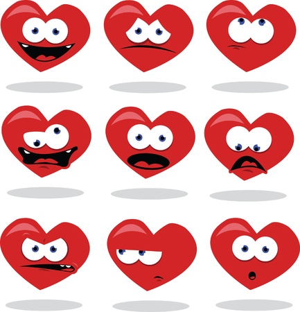 a cartoon representing a funny heart in different poses Stock Vector - 15607150