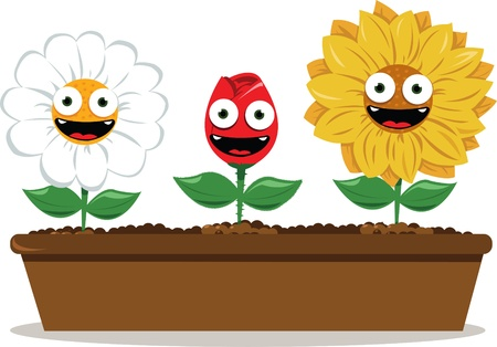 long pot with funny flowers Stock Vector - 15616526