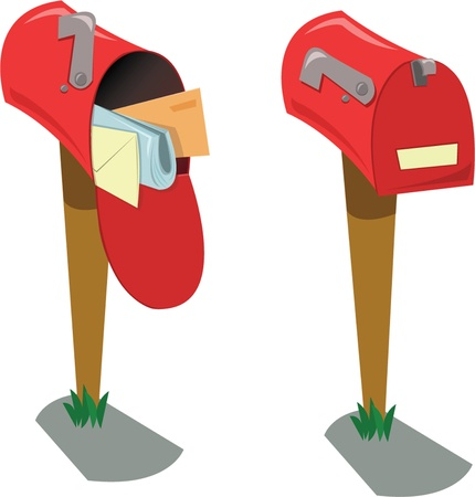 junk mail: a cartoon representing two mailboxes: the first opened with mail, the second one closed and empty Illustration