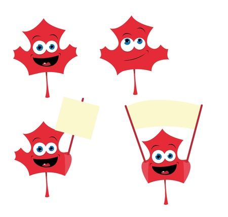 canadian flag: a vector cartoon representing a cute maple leaf in different poses