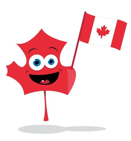 canadian flag: a cute maple leaf holding a canadian flag Illustration
