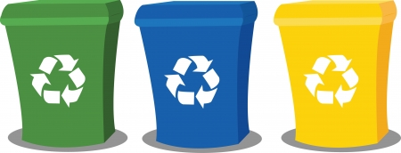 a vector cartoon representing three recycling bins in different colours Vector