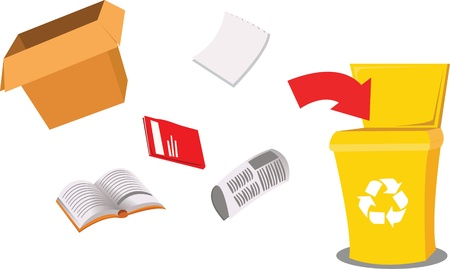 a vector cartoon representing a recycling bin and some paper objects