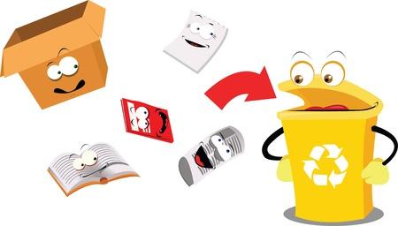 reciclar basura: una caricatura vector que representa un contenedor de reciclaje divertido Vectores