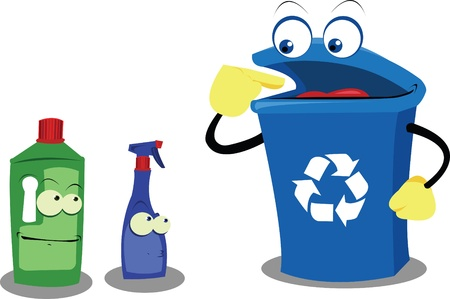 a vector cartoon showing a funny bin and some plastic bottles Vector