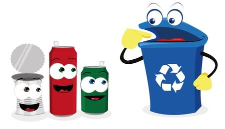 reciclar vidrio: una caricatura vector que representa un contenedor de reciclaje divertido y algunas latas Vectores