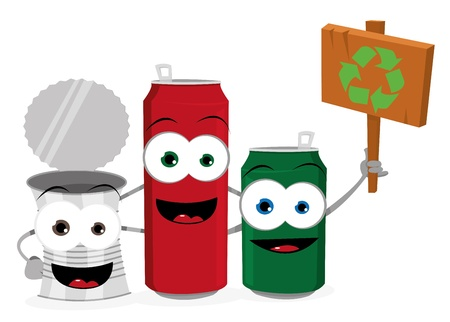 a vector cartoon representing three funny empty cans holding a wooden sign with a reclycling logo