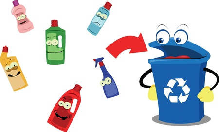 A vector cartoon representing a funny recycling bin and some plastic containers, every object is singly grouped  Illustration