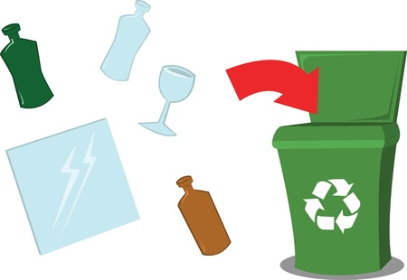 A vector cartoon representing a recycling bin and some glass objects Vector