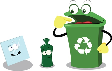 a vector cartoon representing a funny recycling bin and glass Vector