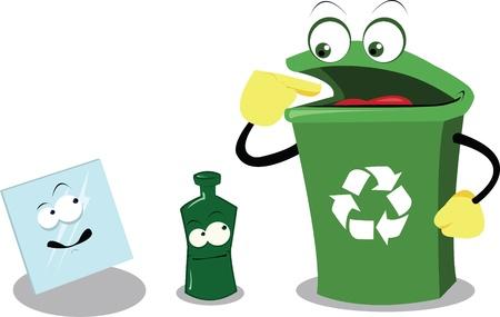 logo recyclage: un dessin animé vecteur représentant une poubelle de recyclage drôle et verre Illustration