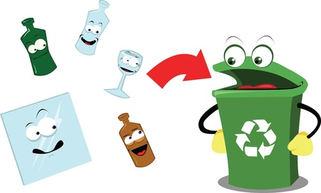 A vector cartoon representing a funny recycling bin and some glass objects Vector