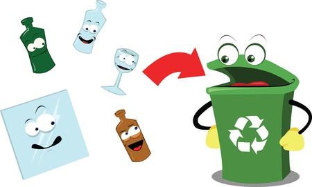 logo recyclage: Un dessin animé vecteur représentant une poubelle de recyclage drôle et certains objets en verre