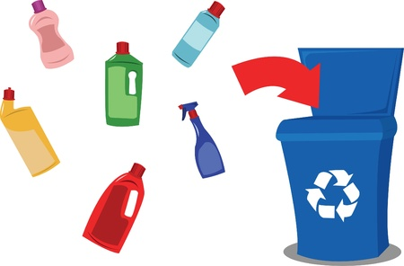 A vector cartoon representing a funny recycling bin and some plastic objects Vector