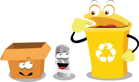 plastic container: a vector cartoon representing a funny recycling bin