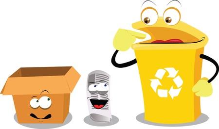 reciclaje de papel: una caricatura vector que representa un contenedor de reciclaje divertido Vectores
