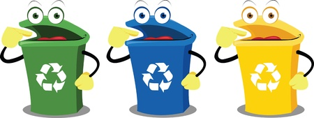 singly: A recycling box points where to leave our waste. Every object is singly grouped