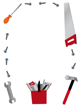 a vector cartoon representing a frame maiden of working tools Stock Vector - 15628403