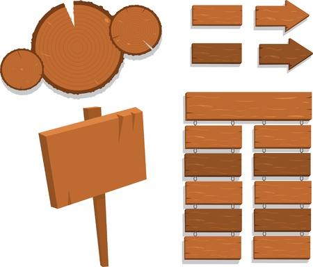 a vector cartoon representing some different kind of wooden signs Stock Vector - 15628407