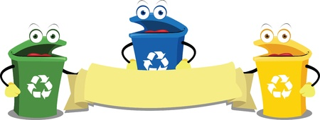 a vector cartoon representing some funny recycling bins keeping a blank banner Illustration