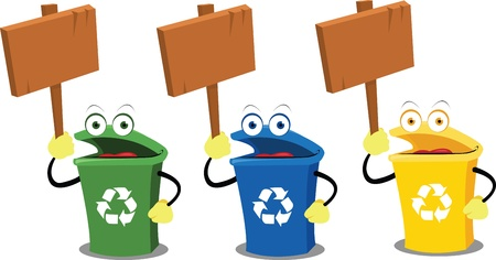 three funny recycling bins holding some wooden signs Vector