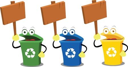 logo recyclage: trois bacs de recyclage dr�les d�tenant des panneaux en bois Illustration
