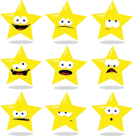 a vector cartoon representing a funny star making different expressions Stock Vector - 15628423