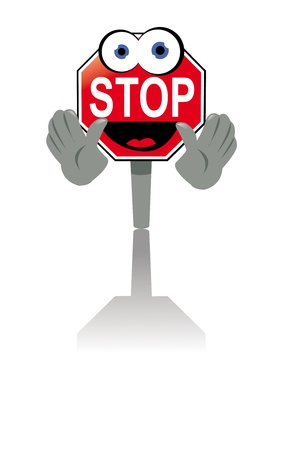 traffic warden: a vector cartoon representing a smiling stop sign