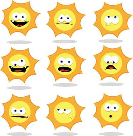 a vector cartoon representing a funny sun making faces Stock Vector - 15628452
