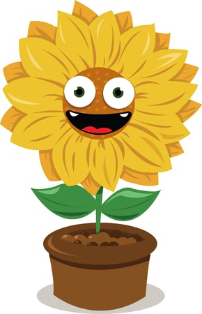 a vector cartoon representing a funny sunflower smiling Stock Vector - 15628411
