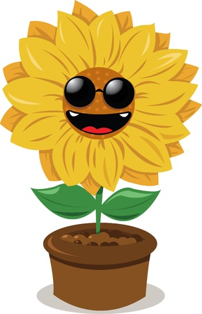 funny sunflower wearing sunglasses and smiling Stock Vector - 15628412